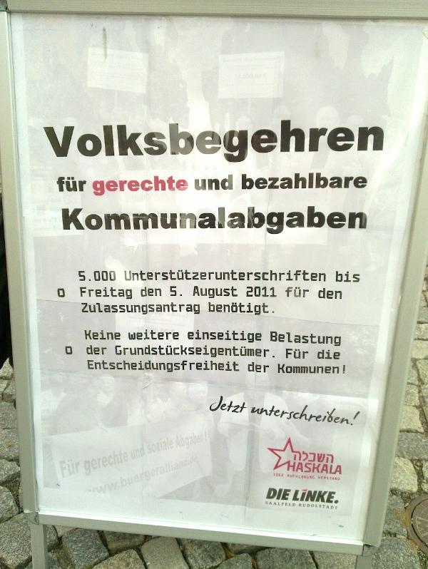 Infostand: Volksbegehren fuer gerechte Kommunalabgaben
