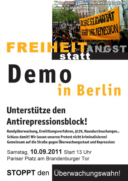 Am 10.9. auf nach Berlin: Freiheit statt Angst Demo