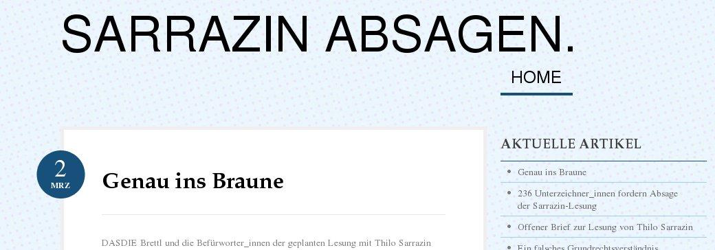 236 Unterzeichner_innen fordern Absage der Sarrazin-Lesung