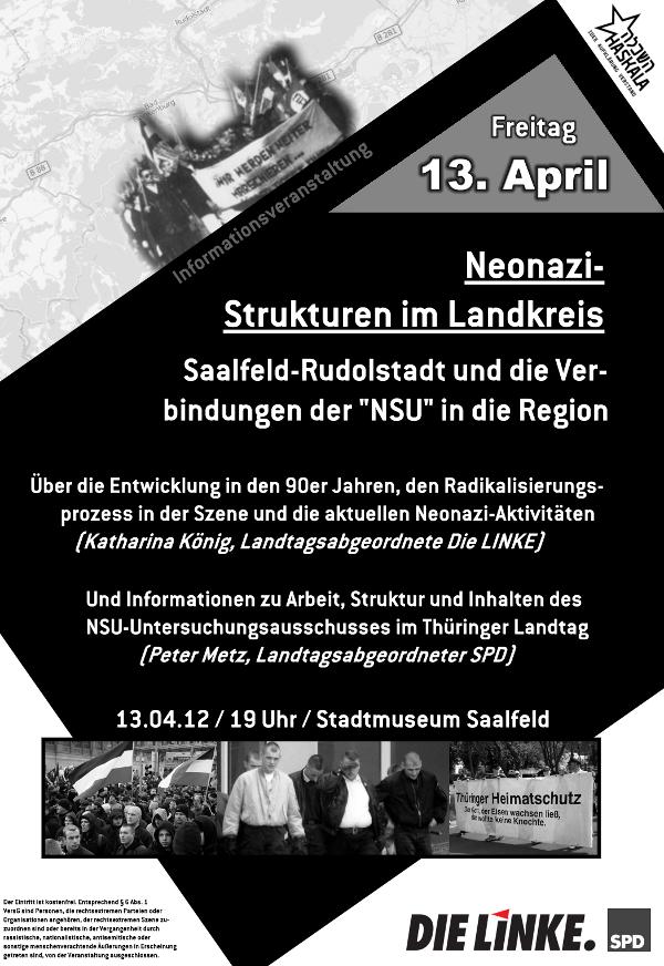 """Vom Damals zum Heute: Neonazi-Strukturen in  Saalfeld-Rudolstadt und die Verbindungen zur """"NSU"""""""