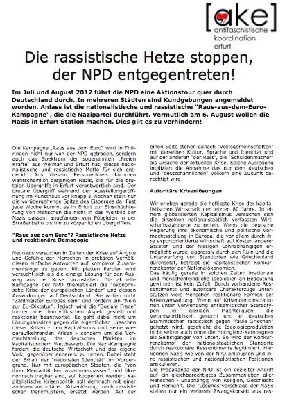 Proteste gegen NPD-Deutschlandfahrt in Thüringen
