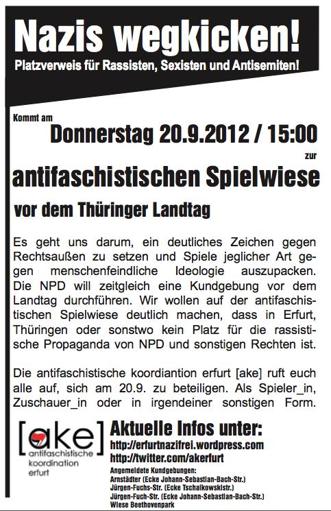 Erfurt Do. 20.9. Nazis wegkicken! – Platzverweis für Rassisten, Sexisten und Antisemiten!