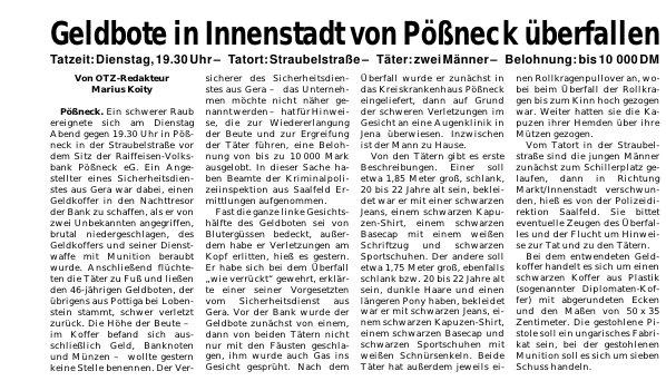 Thüringer NPD-Landesvorstandsmitglied 1999 bei Überfall beteiligt: 70.000 DM Beute + Dienstpistole