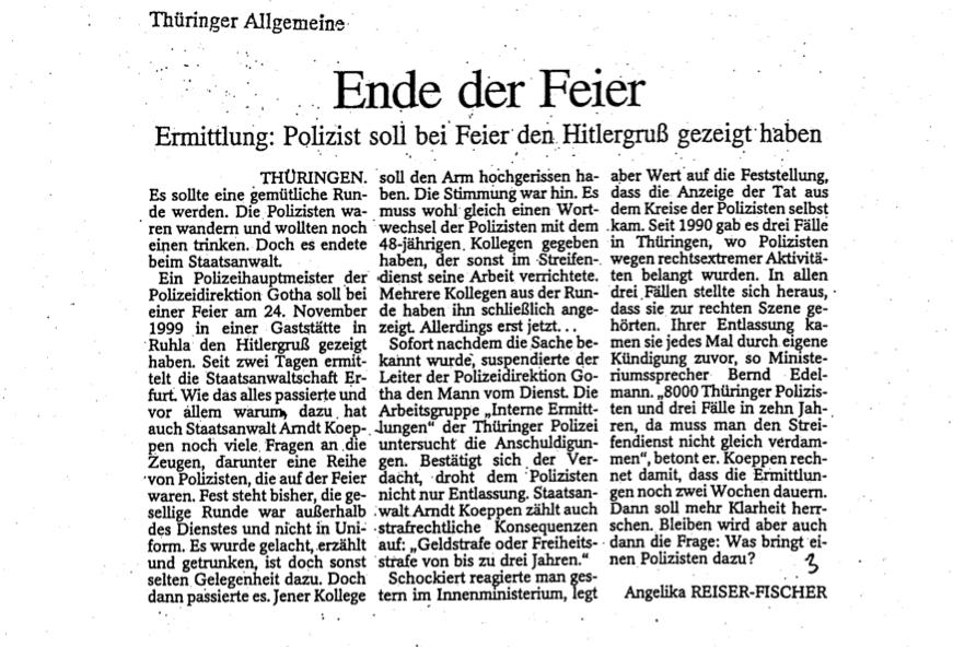 Transparenz zu möglichen rechtsextremen Vorkommnissen in der Thüringer Polizei gefordert