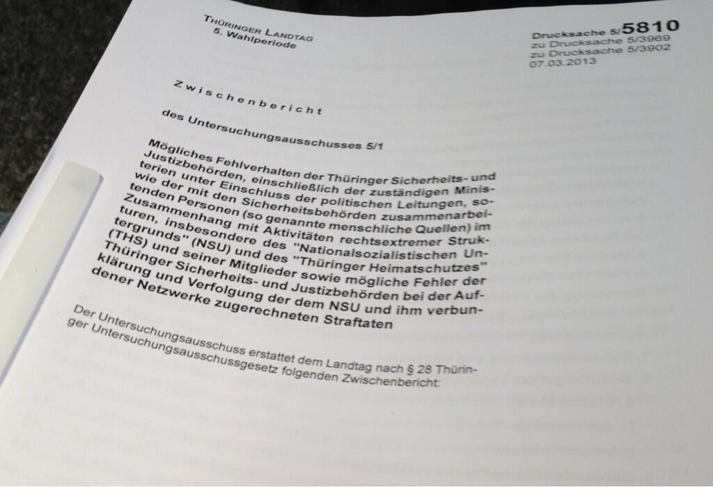Zwischenbericht vom Thüringer Untersuchungsausschuss als Download