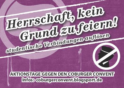Coburg: Gegen den Coburger Convent / Studentische Verbindungen auflösen!