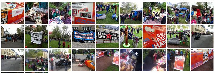 Fotos vom Infostand & 1. Maifest im Saalfelder Dürerpark – am 15. Juni nach Kahla!