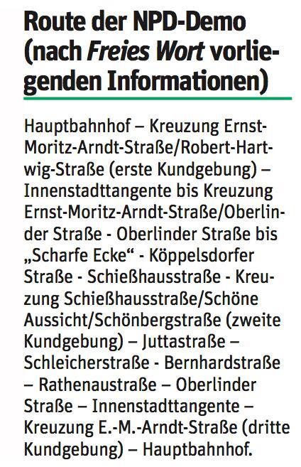 Samstag: Aufmarsch von NPD & Freien Kräften in Sonneberg entgegentreten!
