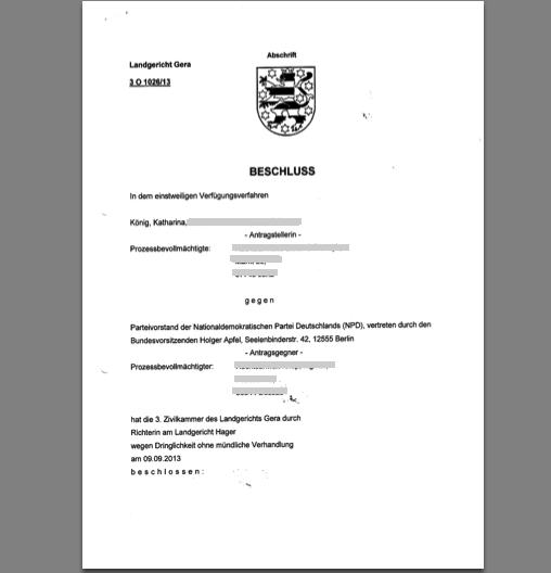 Katharina König gewinnt Rechtsstreit gegen NPD: Einstweilige Verfügung erlassen