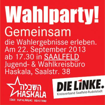 Sonntag 22.9. Wahlparty im Haskala