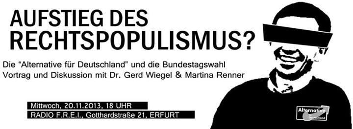 """Aufstieg des Rechtspopulismus? Vortrag & Diskussion zur """"Alternative für Deutschland"""" am 20.11. in Erfurt"""