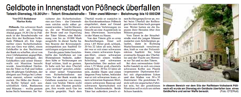 Bericht zum 1. Prozesstag gegen Saalfelder Neonazis am LG Gera (Pößneck Raub 1999)