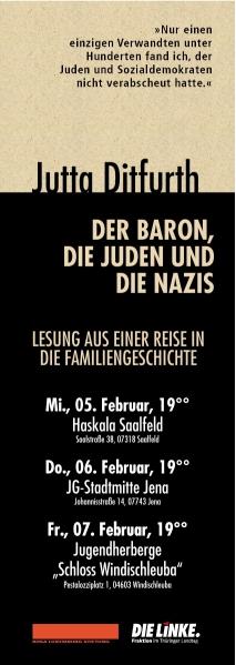 """Lesung von Jutta Ditfurth am 5.2. in Saalfeld """"Der Baron, die Juden und die Nazis"""" + Bustickets für Dresden Nazifrei"""