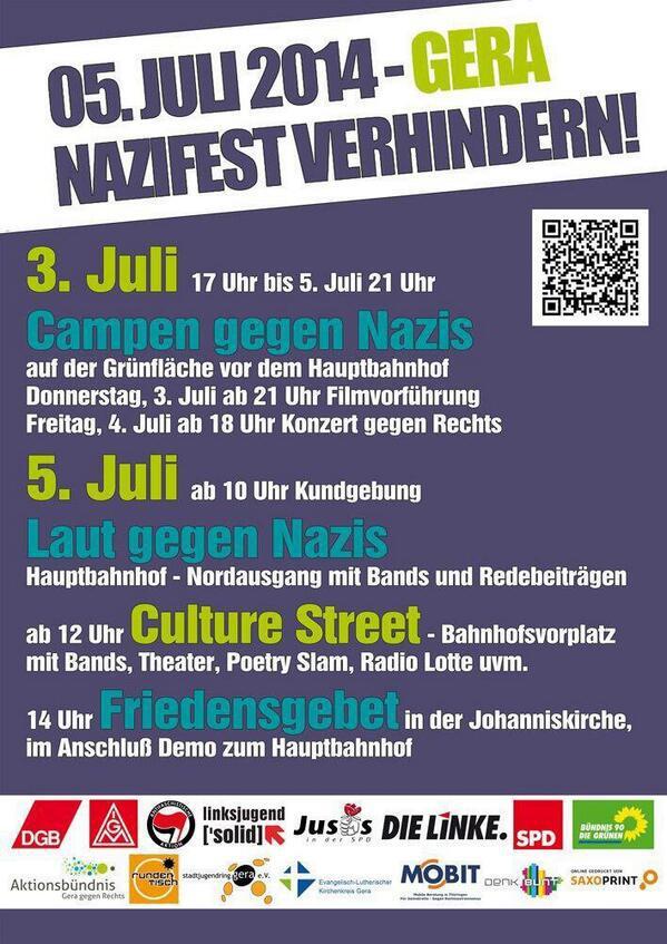 Samstag 5. Juli: Neonazi-Hassmusik Festival in Gera & Gegenproteste