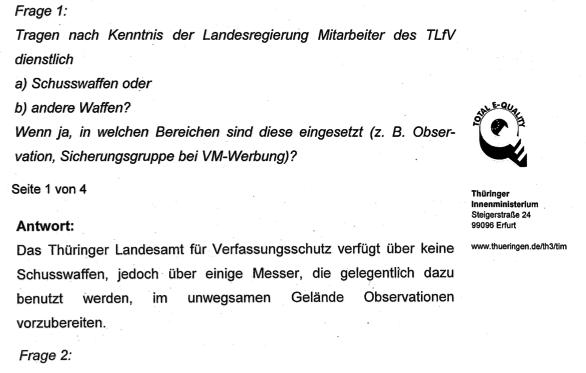 Dschungelcamp Verfassungsschutz? Thüringer Geheimdienstler mit Messern ausgerüstet