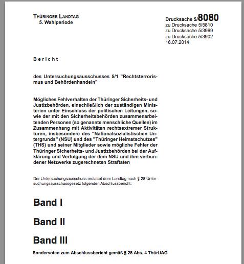 Download: Abschlussbericht Thüringer NSU-Untersuchungsausschuss + Sondervotum