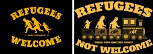 Links: Ursprüngliches Motiv einer antirassistischen Kampagne; rechts: Montage von Frenck für Aufkleber, mit denen er Flüchtlinge per Zug (zurück) nach Afrika schicken will