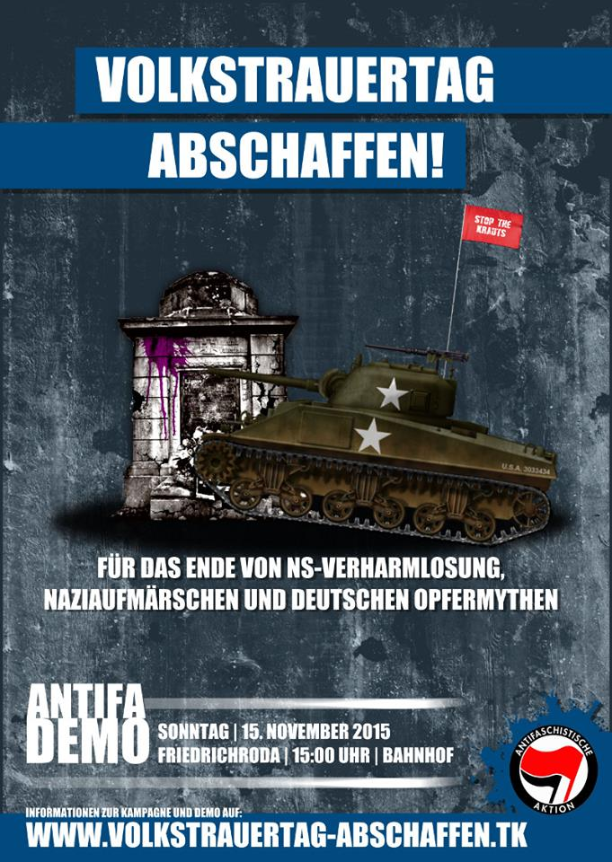 """Donnerstag 5. November im Haskala – Info- und Mobiveranstaltung zur antifaschistischen Demo """"Volkstrauertag abschaffen"""" am 15.11. in Friedrichroda"""