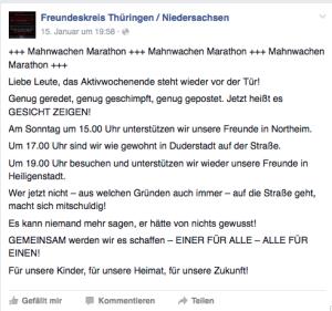 """Gemeinsame Mobilsierung über den """"Freundeskreis Thüringen / Niedersachsen"""" für die Mahnwachen am 18.1.2016 von AfD (Lars S.) und NPD (Matthias F.)"""