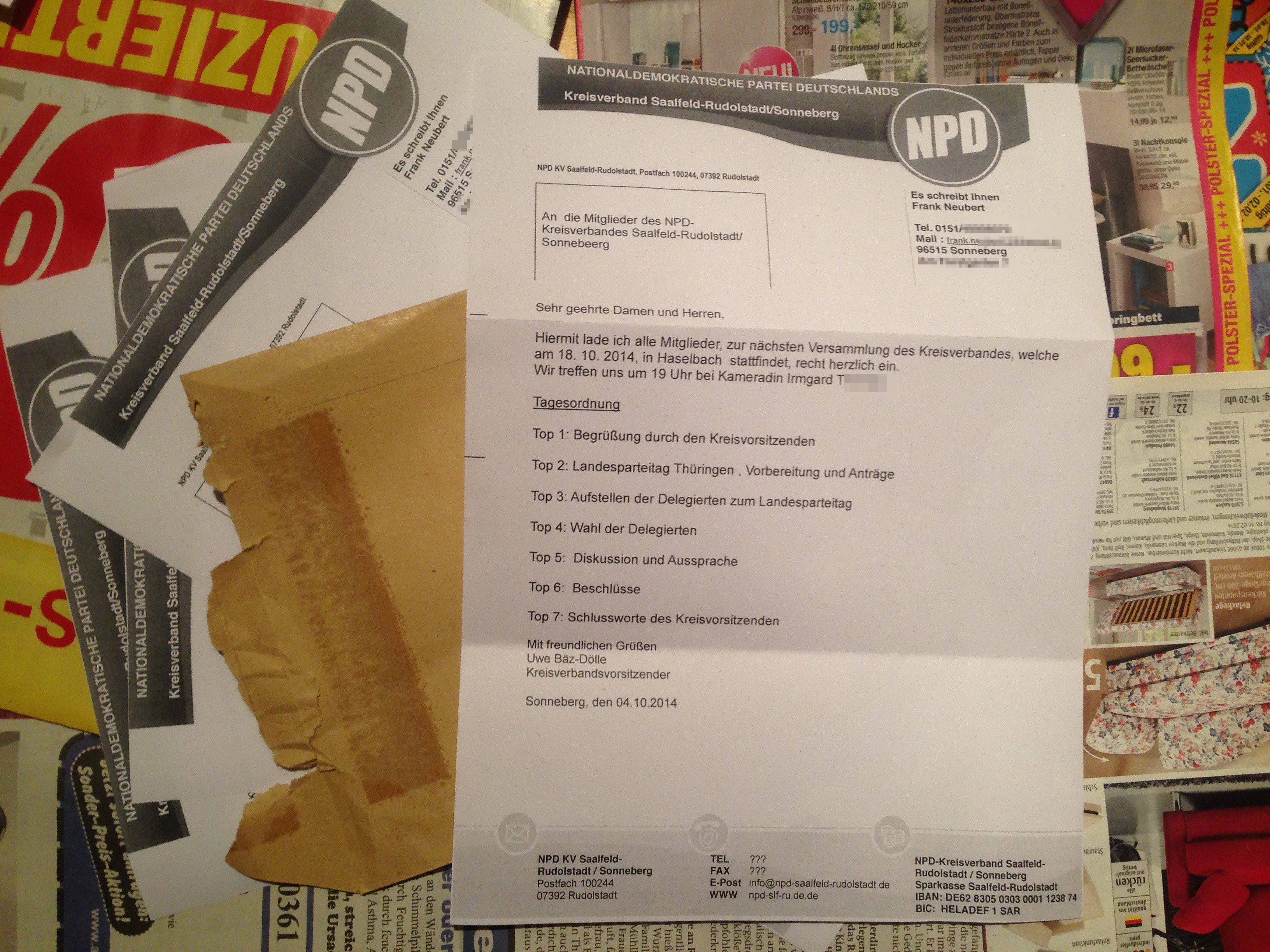 Unterstützt der NPD-Kreisverband Saalfeld-Rudolstadt das NPD-Verbotsverfahren?