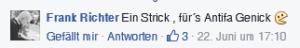 Hass-Kommentar auf der Facebook-Seite der 'Anti-Antifa Ostthüringen'