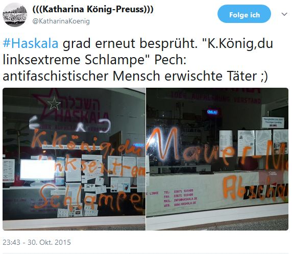"""Kommunales AfD-Vorstandsmitglied in Saalfeld-Rudolstadt ist mehrfacher Angreifer auf LINKE-Wahlkreisbüro """"Haskala"""""""