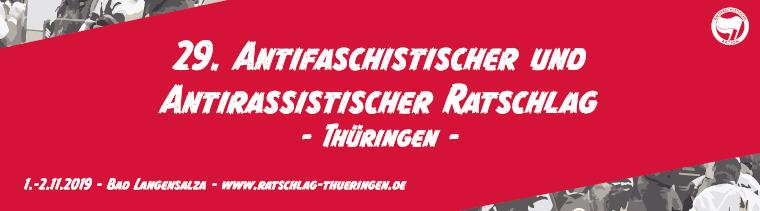 Aufruf zum 29. antifaschistischen und antirassistischen Ratschlag Thüringen am 1. und 2. November in Bad Langensalza